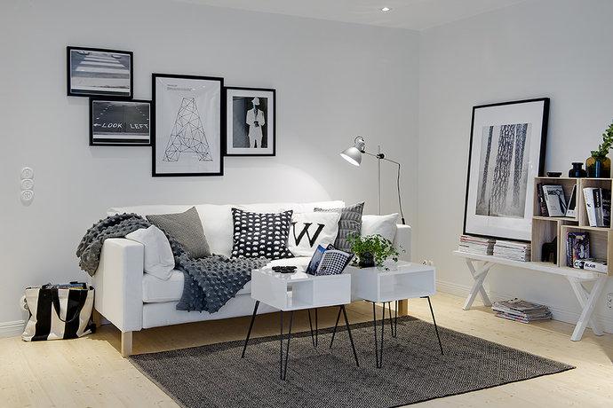 Chic Grey Living Room With Clean Lines: HEMMA I VÅRT HUS